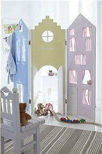 Kids Screen by Car Furniture  Could paint a little less princessy and diy this.  Good playtime for basement
