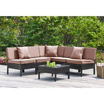 6 piece outdoor patio deep seating group conversation set with tan cushions weather resistant - Conversation set replacement cushions ...