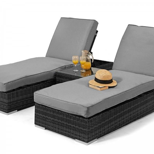 maze rattan orlando sun lounger garden furniture set grey - Garden Furniture Loungers