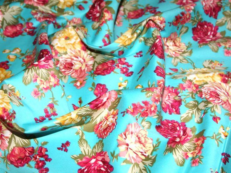 Turquoise & Multi Traditional Floral Print Stretch Cotton Dress Fabric | Fabric | Dress Fabrics | Minerva Crafts