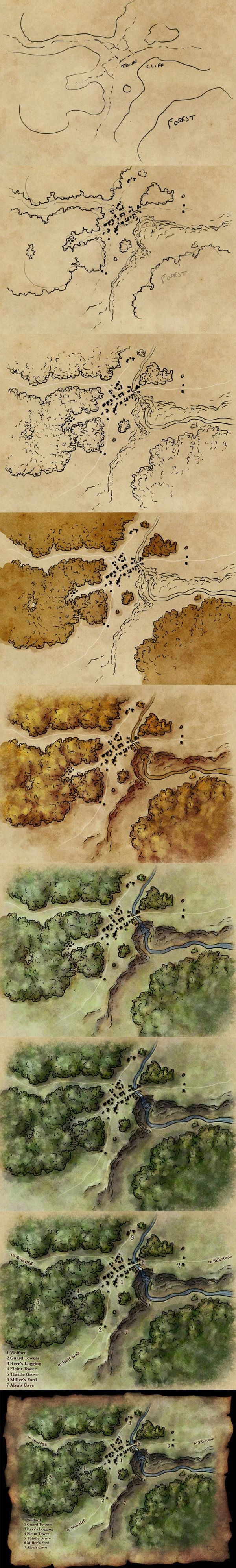 How to draw a map by torstan cartography resource tool how to tutorial instructions | Create your own roleplaying game material w/ RPG Bard: www.rpgbard.com | Writing inspiration for Dungeons and Dragons DND D&D Pathfinder PFRPG Warhammer 40k Star Wars Shadowrun Call of Cthulhu Lord of the Rings LoTR + d20 fantasy science fiction scifi horror design | Not Trusty Sword art: click artwork for source