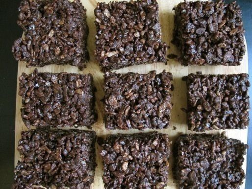 Chocolate Rice Krispies Treats - these were definitely chocolatey, but they were way too dense, I couldn't cut it with a butter knife. I'd rather just use cocoa krispies and the regular recipe. --- KT