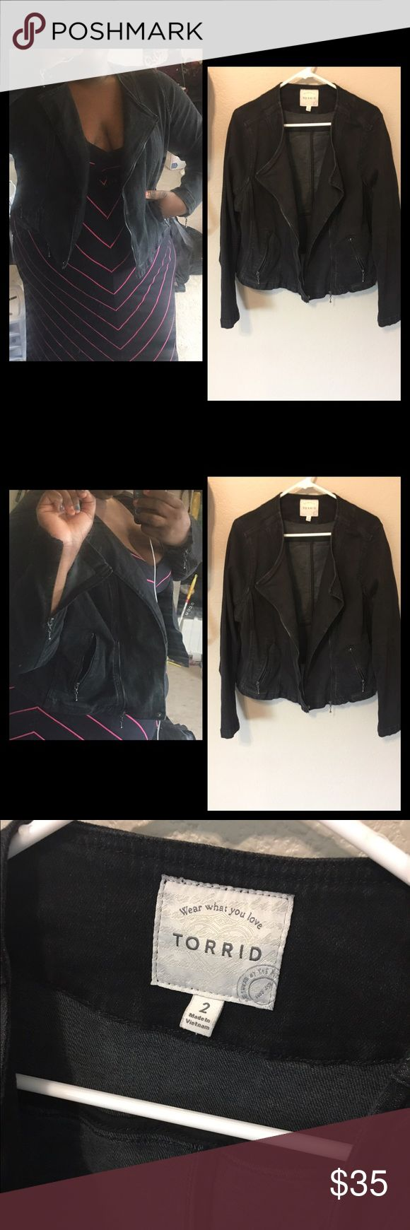 Torrid moto black jean jacket size 2 Purchased from torrid never worn out has cute vintage feel washed out black color with zipper sleeves moto jacket cut has lightweight stretch great for chilly summer fall days  has pockets torrid Jackets & Coats Jean Jackets