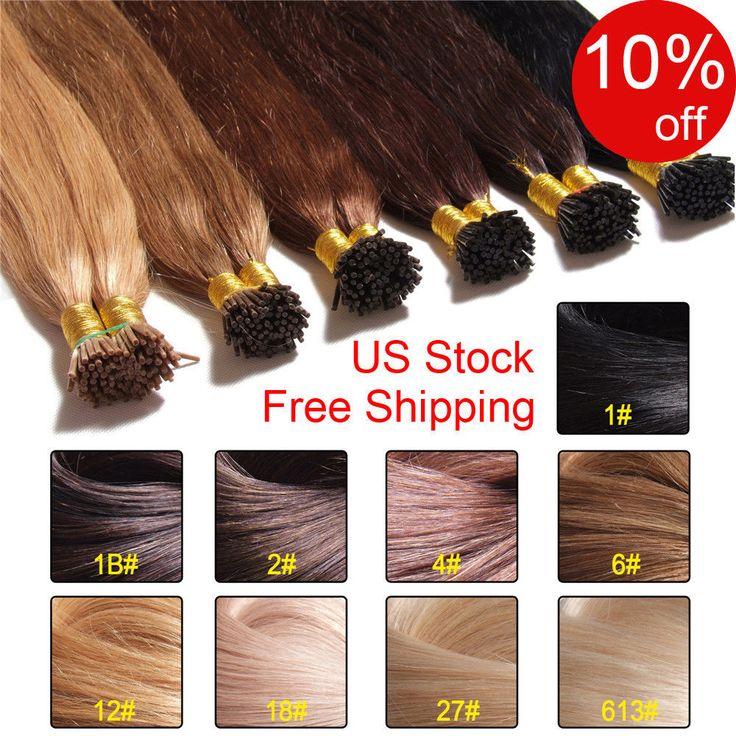100S Pre Bonded I Tip Hair Extension 1g/s Keratin Stick I Tip Human Hair 100g 7a