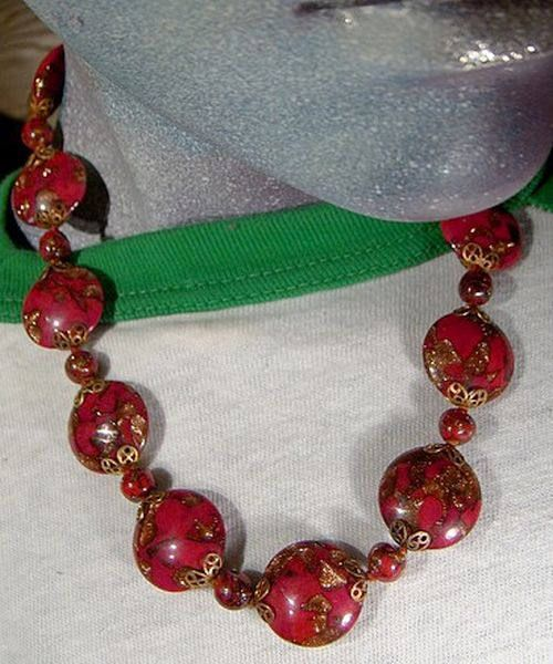 Red & Gold MURANO Glass Disc NECKLACE NOS 1930s  1950