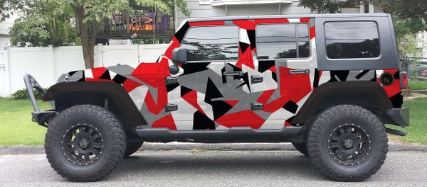Black White Gray Red Geo Jeep Wrangler Vinyl Wrap Kit Jeep Wrangler Jeep Jeep Stickers