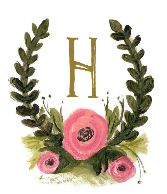 Illustrated Watercolor Wedding Monogram