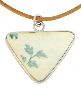 Green Leaf porcelain and sterling silver pendant