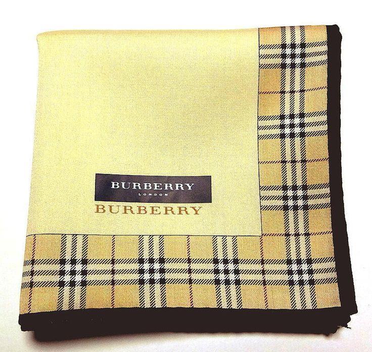 BURBERRY handkerchief scarf Pocket square Beige Check Cotton Auth New #Burberry #Bandana