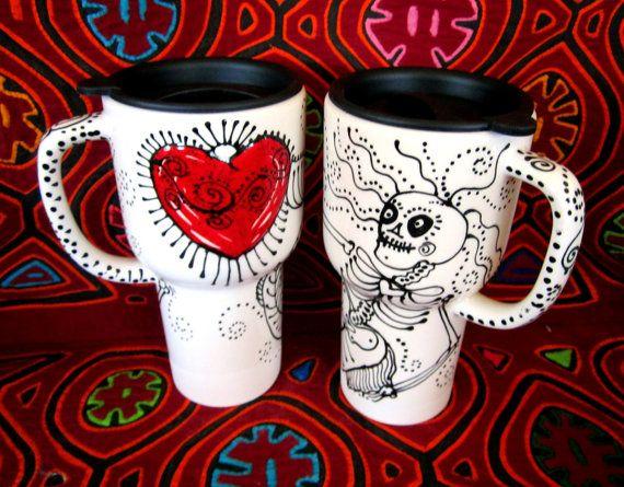 Ethel Merman Mermaid SkeletonTravel Mug with Tattoo Heart and Sliding Lid on Etsy, $33.00 NEED