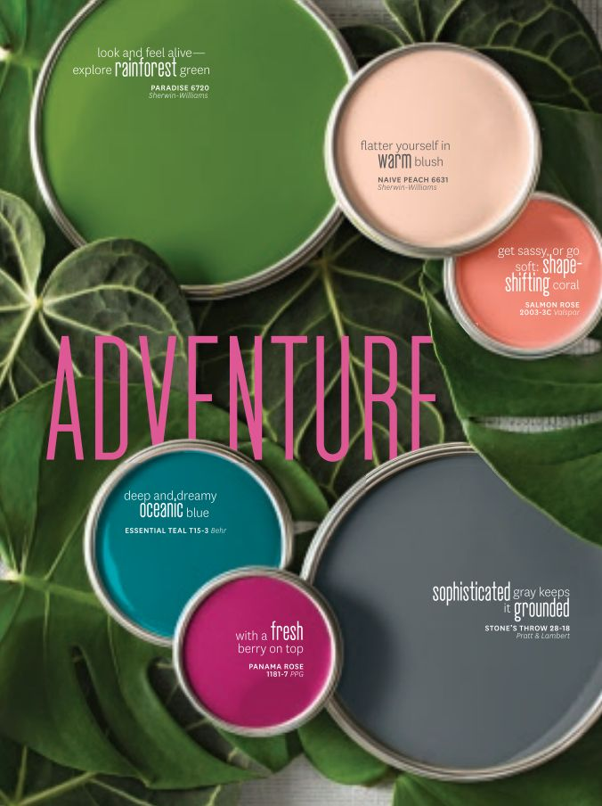 "Better Homes and Gardens' March Color Issue, 2015. ""The collection of six colors highlights the most current trends in home and fashion, in hues that complement each other through multiple combinations."""