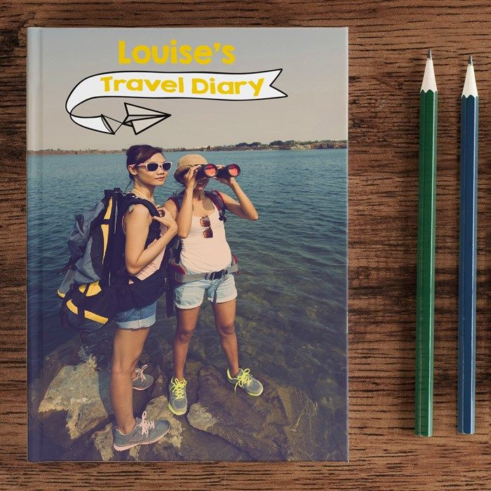 Create a unique travel diary for their gap year by uploading a favourite photo to the cover | Personalised Diary - Travel Diary | Personalised Diaries from Getting Personal