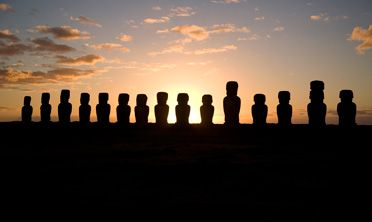 Easter Island's Moai statues located 2000 miles west of Santiago, Chile
