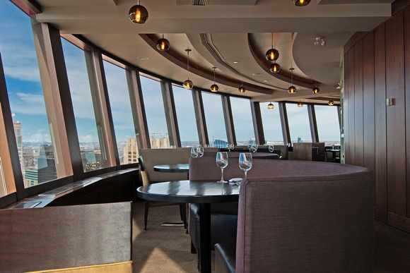 Calgary Tower, 360 Restaurant. Spins slowly while you wine and dine giving you a birds eye view of the city.