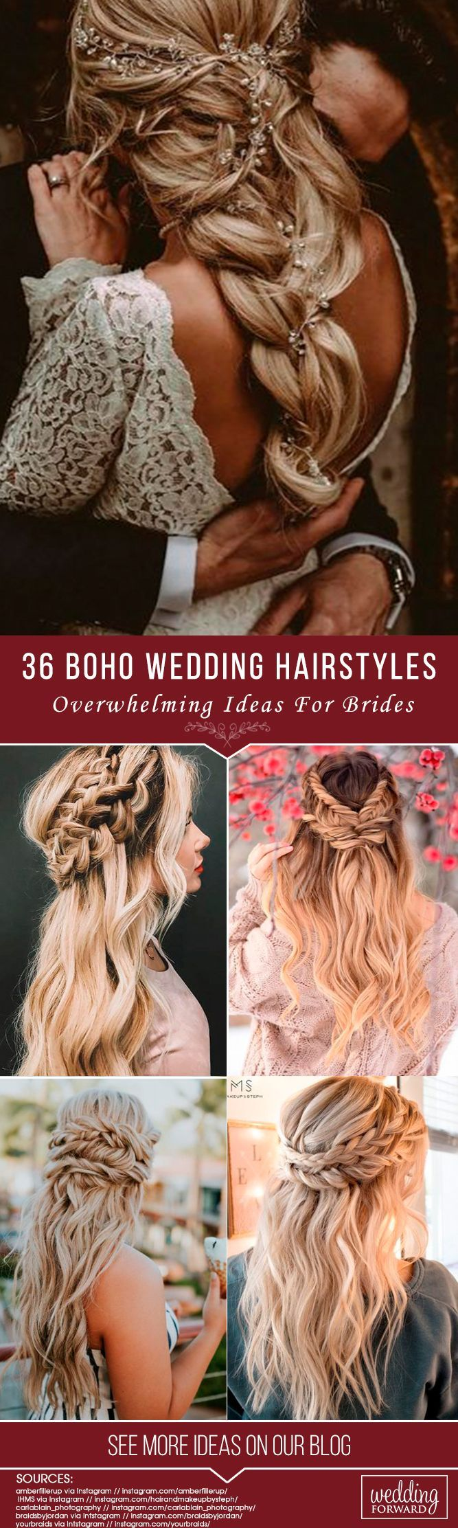 36 Overwhelming Boho Wedding Hairstyles ❤️ Here you will find a plethora of boho wedding hairstyles for any tastes, starting with elegant braided updos and ending with some creative solutions. See more: http://www.weddingforward.com/boho-wedding-hairstyles/