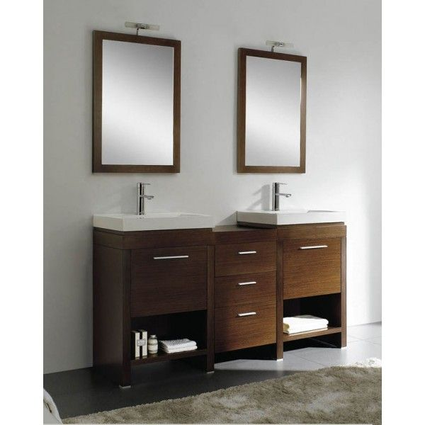 Alcina with Two Basins & Two Mirrors | Best Value Bathroom Furniture in Ireland.  Contemporary standing vanity unit with double sinks, mirrors and soft closing drawers.  Perfect for a larger bathroom.        CA-2009  Description:  Dimension (MM):CBM:  Left Main Cabinet545*460*865 0.26 Right Main Cabinet545*460*865 0.26 Middle Cabinet420*450*670 0.15 Left Mirror  540*25*8000.03 Right Mirror  540*25*8000.03 Left Ceramic Basin545*440*2000.05 Right Ceramic Basin545*440*2000.05