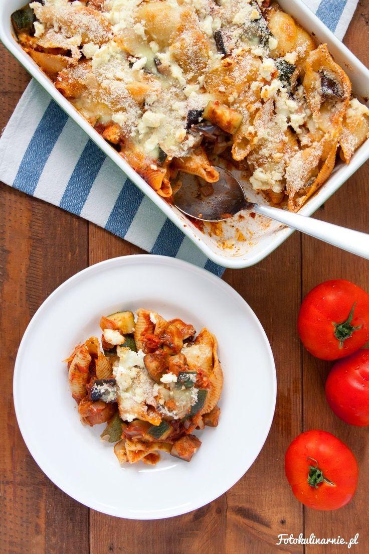 Eggplant, Zucchini and Tomato Pasta Casserole.