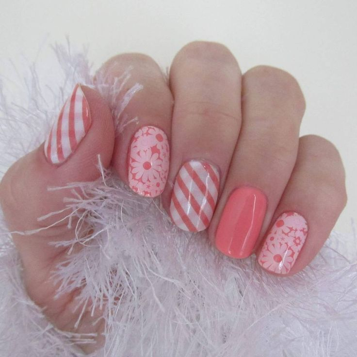 Picnic Party Jamberry Nail Wraps layered over Crushing on Coral Jamberry TruShine Gel.  Beautiful!  Emily Nelson- Independent Jamberry Consultant https://enchantingjams.jamberry.com/us/en/