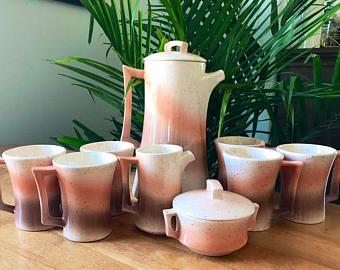 Vintage 1980's Coffee/Tea Set | Ombre | Pink Southwestern | Mugs, Pot, Creamer and Sugar | Southwestern Kitchen | Ombre Decor