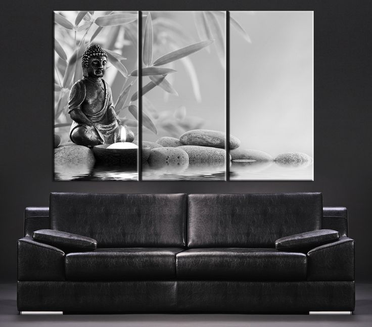 Canvas art gray buddha statue canvas print large wall art canvas print black and white