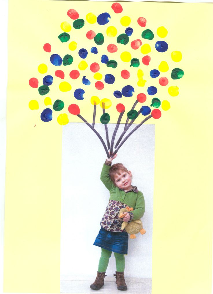 Eigen niveau :kaartje voor een kleuter, ballonnen stempelen met de vinger