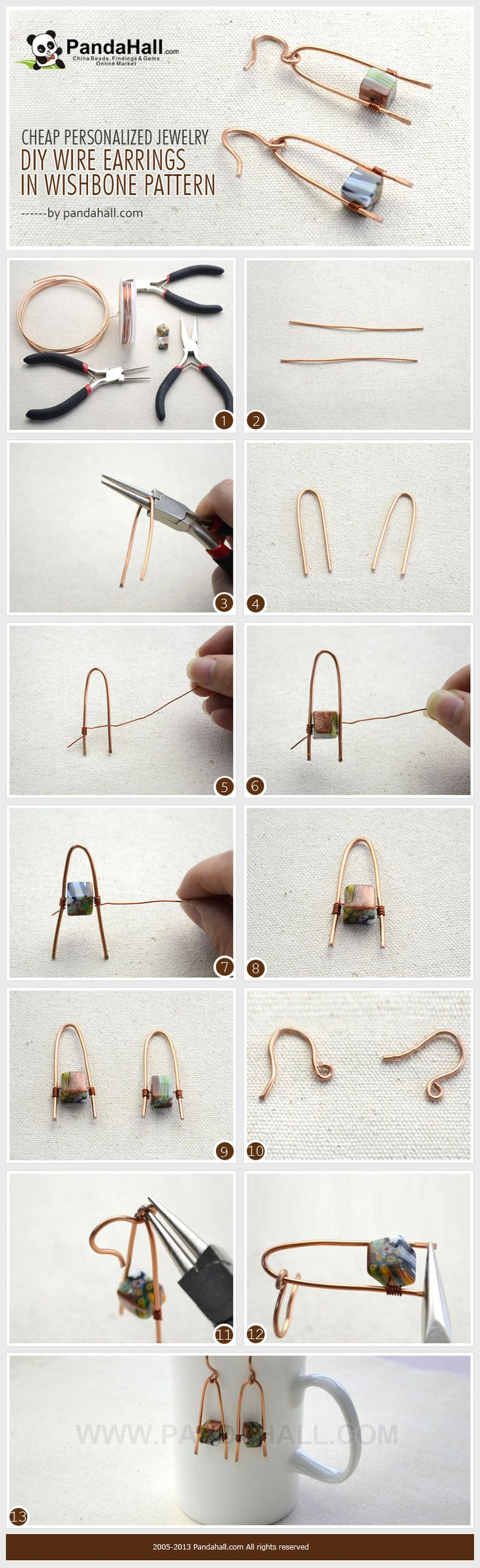 With aluminum wire and stone beads you can make cheap personalized jewelry in a quick and easy way! This tutorial is going to show you how to make DIY wire earrings in a wishbone pattern.
