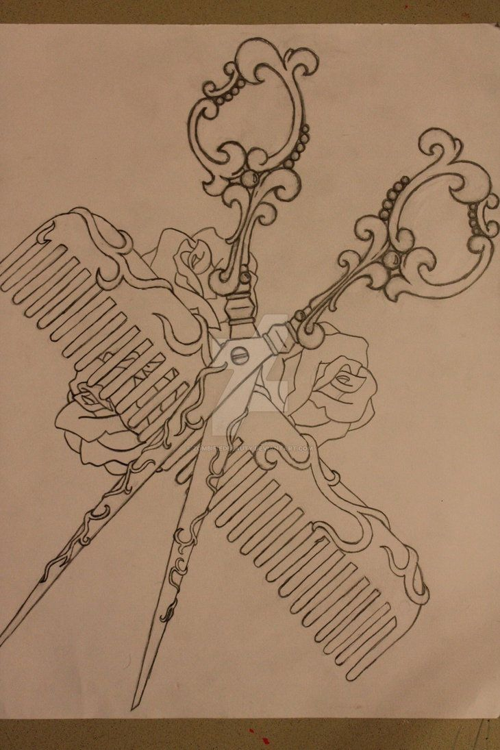Shears and Comb Tattoo Design by ZombifiedBeauty