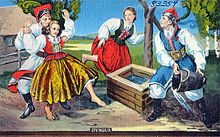 "Śmigus-Dyngus (also known as lany poniedziałek, meaning ""Wet Monday"") is a celebration held on Easter Monday in Poland. It is also observed by Polish diaspora communities, particularly among Polish Americans, who call it Dyngus Day. Similar celebrations are held in the Czech Republic and Slovakia (Oblévačka in Czech, Oblievačka in Slovak, both meaning ""Watering"") and in Hungary, where it is known as Vízbevető or ""Water Plunge Monday"""