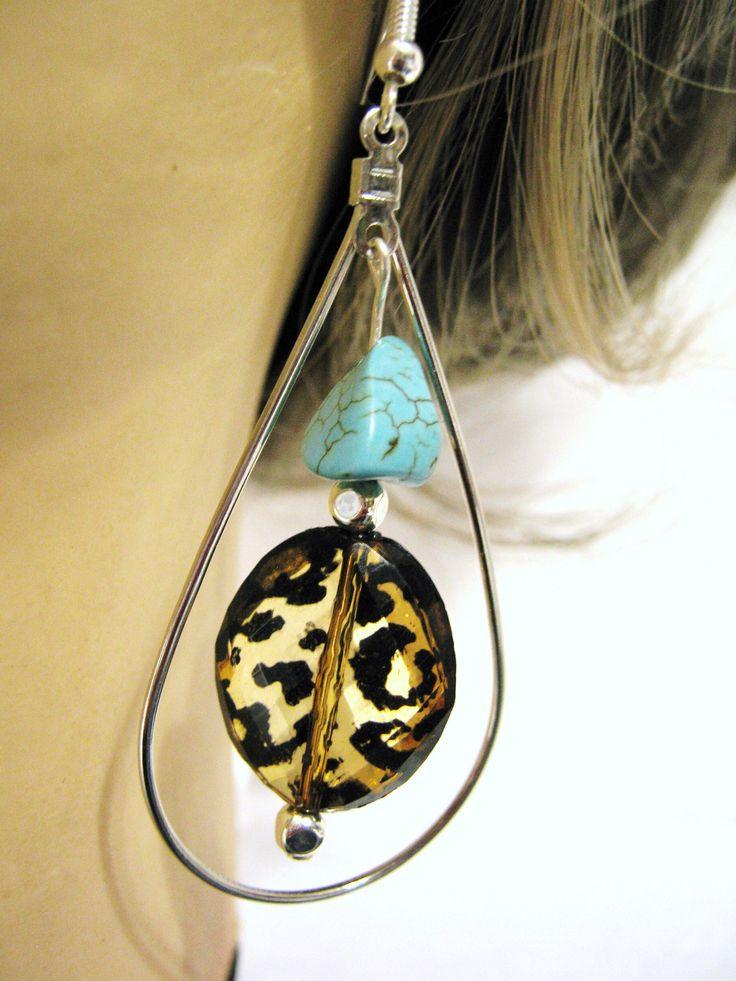 Leopard Spot Turquoise Earrings, Animal Pattern Teardrop Earrings, Jewelry Handmade by SouthernMedleyShop on Etsy