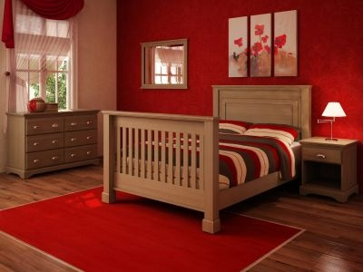 Bright Red Bedroom