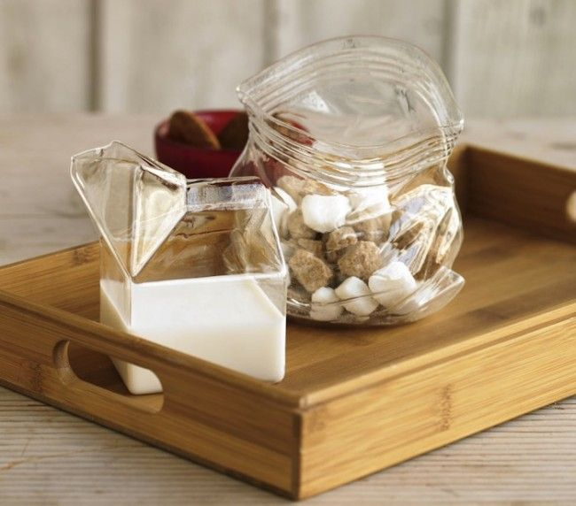 cute glass: Fun Recipe, Sugar Glasses, Glasses Cartons, Milk Cartons, Glasses Milk, Candy Dishes, Cartons Creamer, Sugar Sacks, Home Decor Kitchens