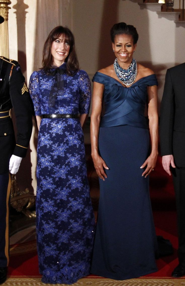 Sapphire first lady frocks michelle obama dazzles in marchesa at the white house state dinner