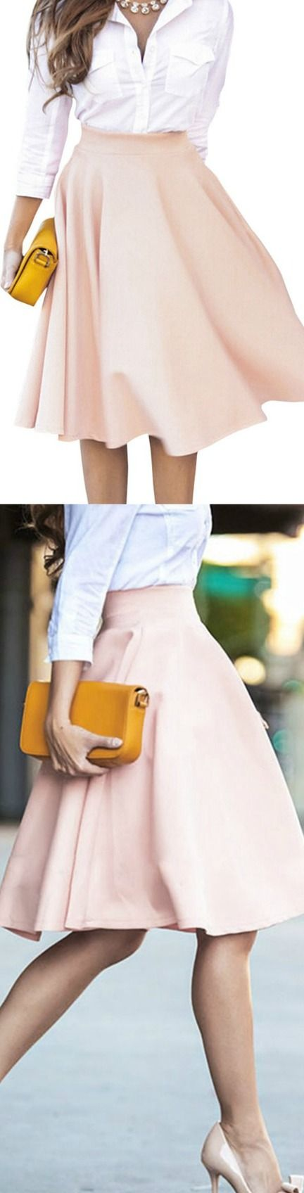 Flared High Waist Midi Skirt! Click The Image To Buy It Now or Tag Someone You Want To Buy This For. #MidiSkirt
