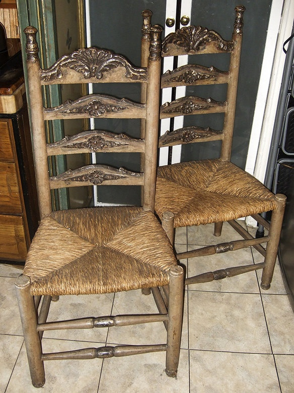white ladder back chairs rush seats 2
