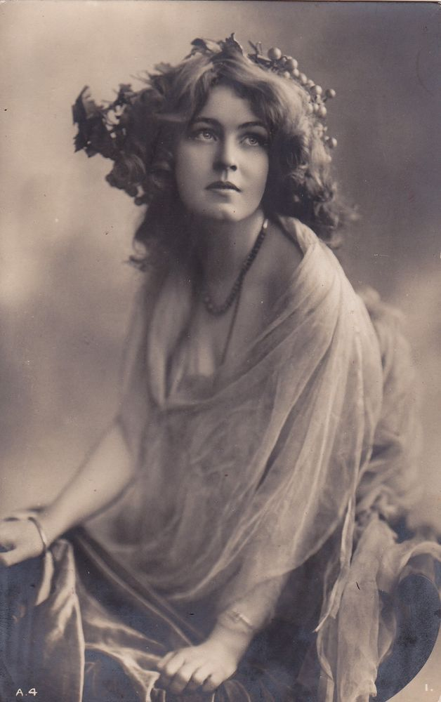 1910..Lovely Edwardian Lady with Grapes in Hair..original british postcard
