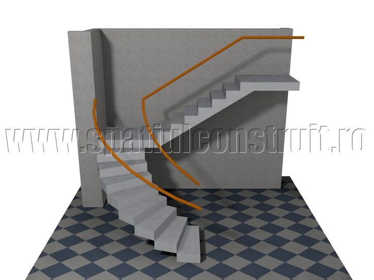 Staircases: general concepts & classifications/ Scari: notiuni generale, clasificari >> Staircase with one curved platform & one straight platform/ Scara cu o ramba curba si una dreapta