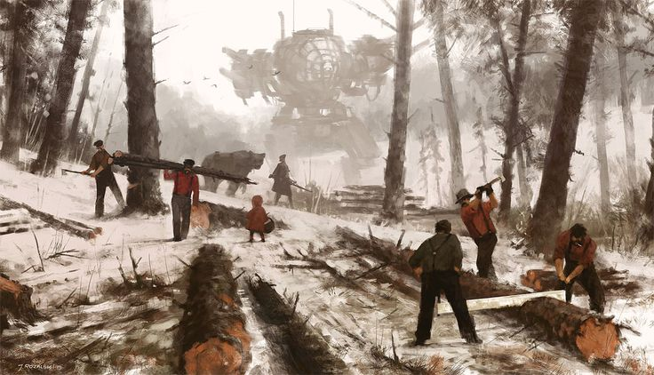 "The Polish artist Jakub Rozalski, who goes by the sobriquet ""Mr. Werewolf,"" has produced an amusing series of steampunk-ish canvases in which serene and idyllic rustic landscapes of what seem to be Eastern Europe (Rozalski's very back yard, you might say) in the early decades of the 20th century fea"