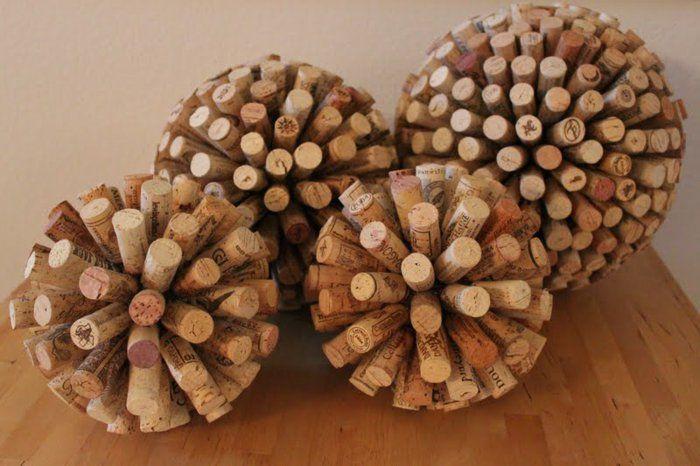 bastelideen korken bälle dekoration