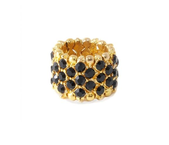 KIYONNA - Womens gold metal soiree stretch ring. Made in the USA.
