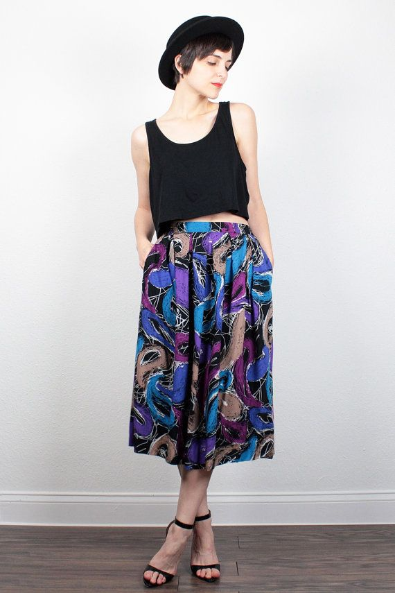 Vintage 80s Skirt Purple Blue Black Midi Skirt 1980s Skirt New Wave Abstract Print Knee Length Skirt Hipster High Waisted Skirt M Medium by ShopTwitchVintage #vintage #etsy #80s #1980s #skirt #midi #abstract #newwave