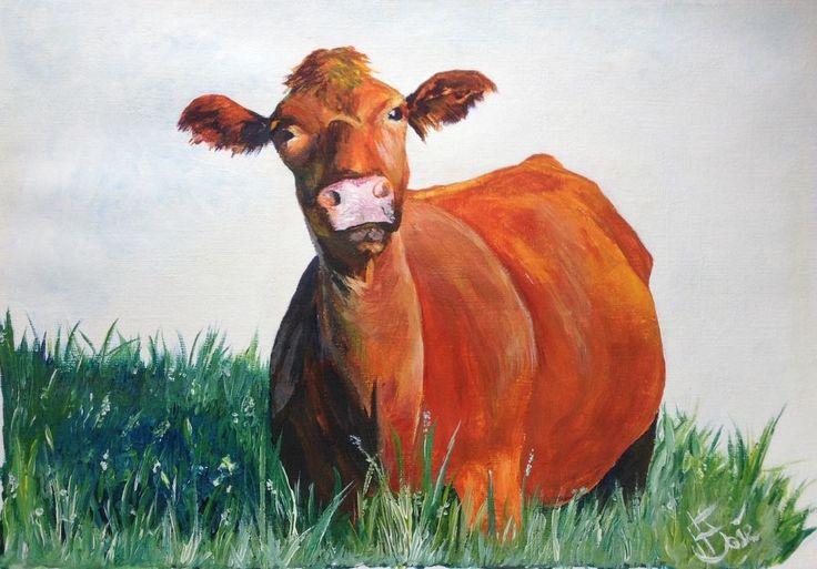 Original acrylic painting by H. JOSÉ, Sunset Cow