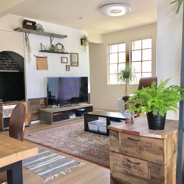 mamizoさんの、リビング,植物,DIY,足場板,ペンキ塗り,かべがみや本舗,のお部屋写真