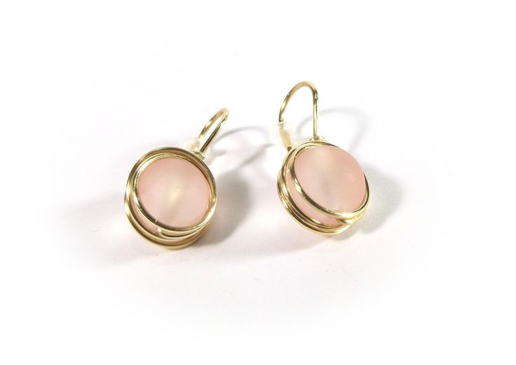 Frosted glass earrings wire wrapping from betulek by DaWanda.com