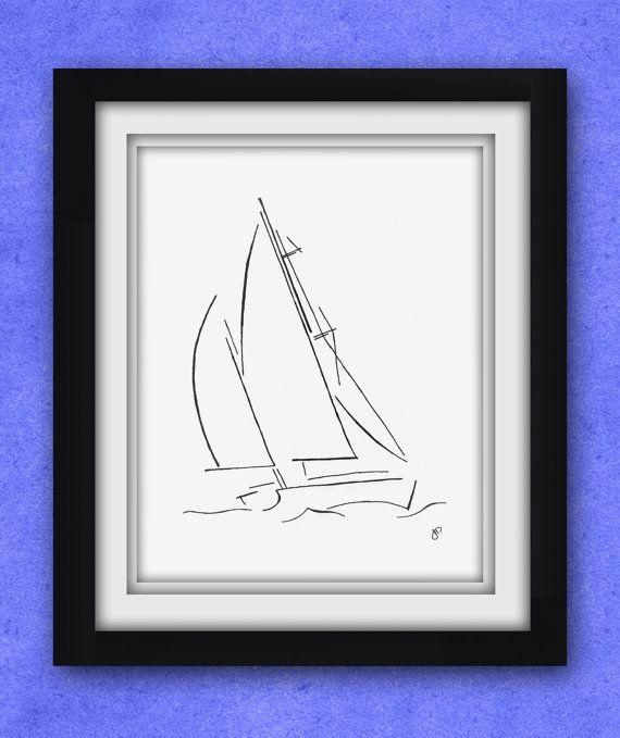 Sailboat Sketch Print by ArtByJosephDalton on Etsy, $30.00