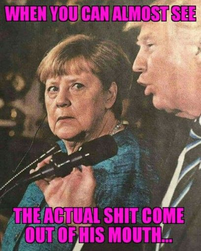 Angela looks disgusted and horrified. A justifiable reaction to the unspeakable abomination.