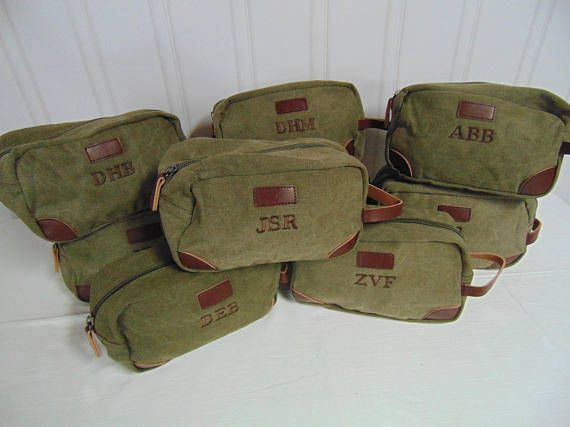 Mens Toiletry Bags Canvas and Leather Toiletry Bags-Initials