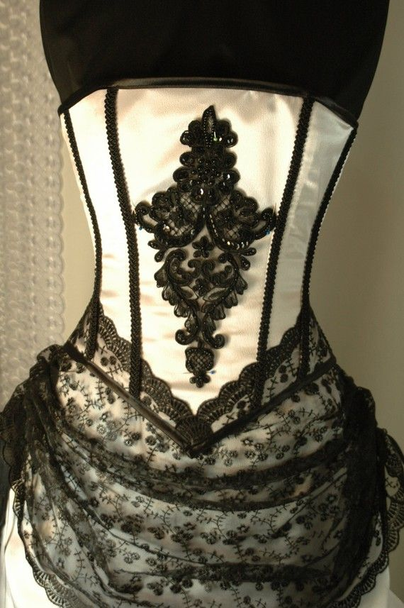 Custom made white and black corset gown