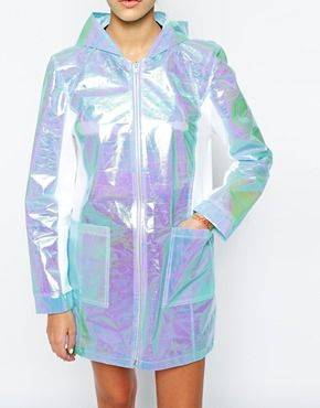 Enlarge The Ragged Priest Holographic Hooded Lightweight Anorak Festival Parka