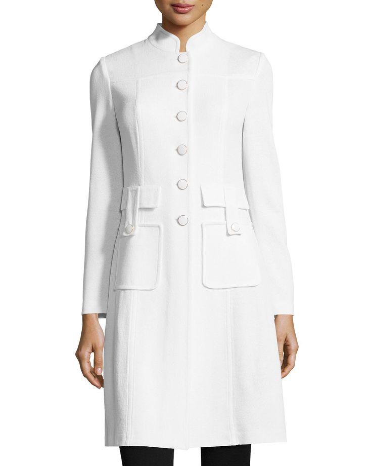 St. John Santana Military-Pocket Jacket, Bright White, Women's, Size: 6, Bw00