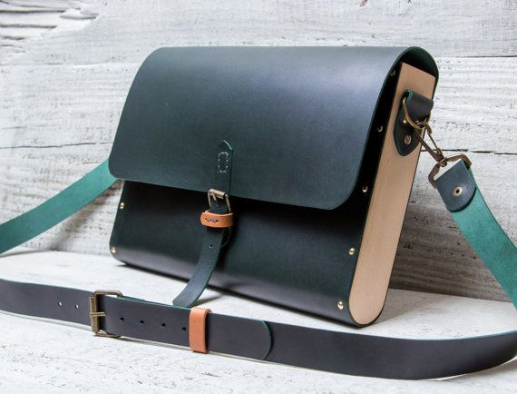 Leather wood briefcase messenger bag. Custom made from by viveo
